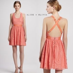 "Alice + Olivia ""Odette"" lace cross back dress"